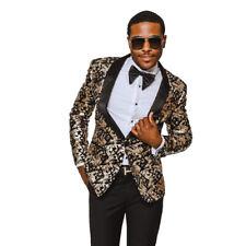 Slim Fit Tuxedo Jacket 1 Button Shawl Lapel Gold Leopard Dinner Blazer AZARMAN
