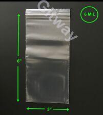 "3"" x 6"" Heavy Duty Clear Resealable Ziplock Zip Lock 3x6"" FDA Plastic Bags 6 miL"