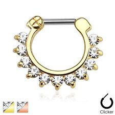 Steel Nose Septum Ring Clicker 16g 14g Single Line Cz Gems Rose Gold Ip Surgical
