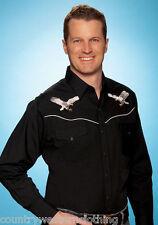 Para Hombre Ely Negro Western cowboy Shirt Bordado Con Águila de Plata