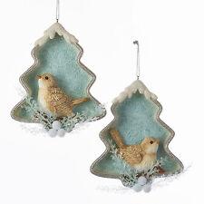Icey Blue Bird Tree Shadow Box Ornament