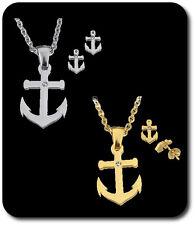 Anker Set Anhänger+ Kette+Ohstecker Schmuckset Edelstahl Halskette Halskette