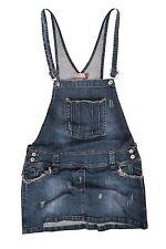 Clove Women Frayed Antique Look Denim Dungarees Mini Skirt Size 8-22
