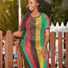 Rasta Multicolored Rihanna Work Work Dress Side Slit Ladies String/mesh Maxi