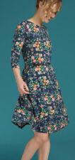 King Louie Kleid mit Gürtel Emmy Dress Florali Dark Navy Blumen Dunkelblau 03254