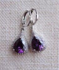 18K White Gold Filled Drop Earrings Pear Shape Crystal & Clear Swarovski - NEW