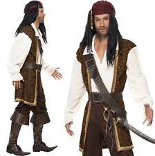 Para Hombre Alta Mar Caribe Traje De Pirata Disfraz Jack Nuevo por Smiffys