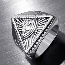 Men's The All-seeing-eye illunati pyramid Symbol Stainless Steel Symbol Ring