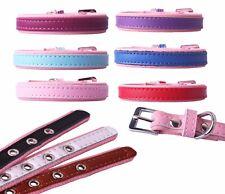 Hundehalsband Halsband für Hunde Welpen zweifarbig rosa Lederhalsband