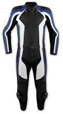 Mono Traje 2 piezas Piel Moto Pantalones Chaqueta Protectores CE Azul