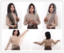 Vintage  Women Soft Lace Chapel Veil Classic Mantilla Triangle Pattern Veil