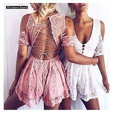 Tuta Donna Pantaloncini Copricostume in Pizzo Shorts Lace Jumpsuit 660018