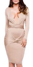 Abito donna vestito elegante aderente scollatura profonda v maniche lunghe