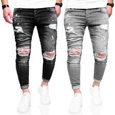BEHYPE Jeans Herren Destroyed Röhrenjeans Slim Fit Chino Hose Schwarz/Grau NEU