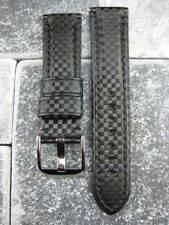 NEW 22mm Black CARBON FIBER Leather Strap Watch Band Timewalker MONTBLANC 22