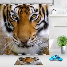 "Big Eyes Tiger Staring Pattern Bathroom Waterproof Fabric Shower Curtain Set 72"""