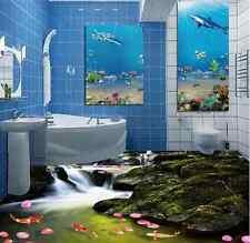 3D Fish Stone River 8 Floor WallPaper Murals Wall Print 5D AJ WALLPAPER UK Lemon