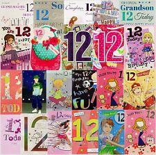 12th cartolina di Compleanno APRI/figlio/figlia/nipoti-diverse fantasie dispo