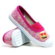 Niñas Lona Zapatos Entrenadores Skate Nuevo Sin Cordones emoji Verano Zapatillas De Tenis Bombas de Tamaño