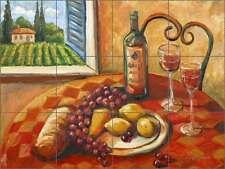 Ceramic Tile Mural Backsplash Morris Tuscan Fruit Wine Still Life Art JM019