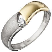 Damen Ring 925 Sterling Silber bicolor vergoldet matt 1 Zirkonia Silberring