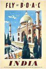 Vintage BOAC Vols vers l'Inde affiche d'impression A3