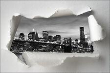Sticker Trompe l'oeil papier déchiré déco New York Brooklyn réf 1355
