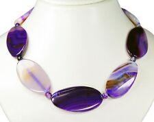 PRECIOSO CADENA de piedras Colores Púrpura Ágata En Forma Ovalada MECANIZADA