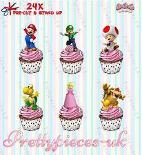 Super Mario 24 Stand-Up Taza de papel de oblea de pre-cortado Cake Toppers
