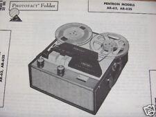 Pentron Ar-62,Ar-62S Tape Recorder Photofact Photofacts