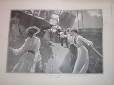 Jeu de palets sur un vers l'Est-Bound OCEAN LINER 1904 PRINT James Durden
