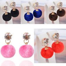 Pom Pom Jewelry Crystal Ear Stud Earrings Womens Cute Faux Fur Fluffy Plush Ball