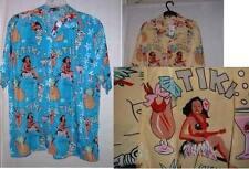 nwt HULA GIRLS retro HAWAIIAN SHIRT  blue or yellow size  S,M, 2X 3X