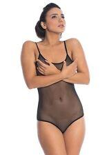 NEW Women Bodysuit Sleeveless Leotard Lingerie see through Black Bodie UK size