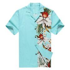 Made in Hawaii Men Hawaiian Aloha Shirt Luau Cruise Party Side Orchid Turquoise