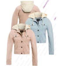 femmes Jersey capuche veste en Jeans taille 8 10 12 14 16 rose bleu