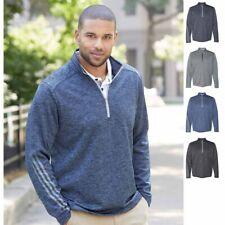 Adidas Brushed Terry Heather Quarter-Zip Mens Sweatshirt- A284
