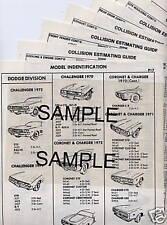 1972 1973 1974 1975 1976 1977 DODGE TRUCK 100 200 300 BODY PARTS CRASH SHEETS **