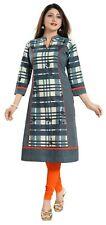 Women Indian Kurti Tunic Cotton Printed Green Checkered Kurta Shirt Dress NK32