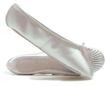 Raso Bianco Camoscio Scarpe da balletto, suola intera bambini & adulti