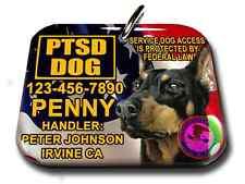 Service Dog PTSD american flag PHOTO ID tag custom badge-tag personalized