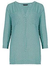New Ex M&S Green Chiffon V Neck 3/4 Sleeve Geometric Blouse Top Size 10 - 28