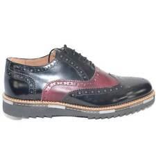 scarpe uomo stringate vera pelle abrasivato nero bicolore made in italy fondo an