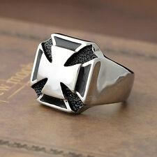 Men's Silver Black Knight Templar IRON Cross 316L Stainless Steel Biker Ring