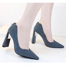 zapatos de salón mujer azul talón cuadrado 10 cm élégant como piel 8418