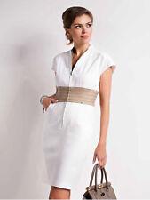 Kleid mit Reißverschluss Knielang Ärmellos Cremeweiß Baumwolle Gr. 40 42 44