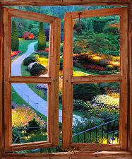 Sticker mural fenêtre trompe l'oeil déco Jardin réf 764