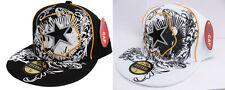 Basball Cap Hip Hop Style  Star in Shield - White