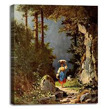 Spitzweg ragazza con capra design quadro stampa tela dipinto telaio arredo casa