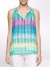 Calvin Klein Grass Combo Tie Dye Multi-Stripe Chain Neck Top - $69.50